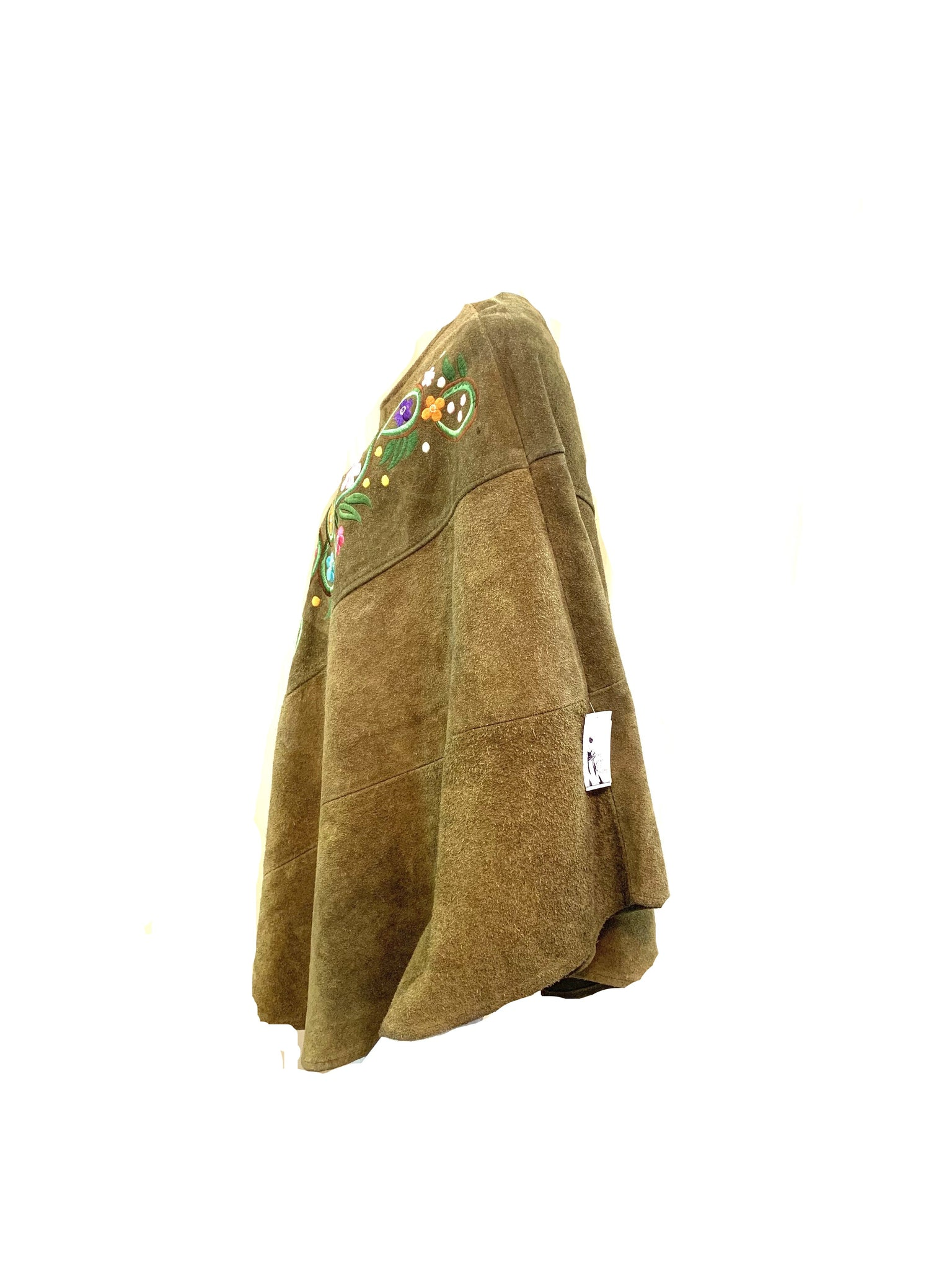 60s Hippie Green Embroidered Suede Poncho SIDE 3 of 4
