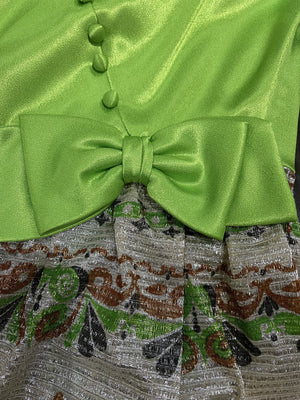 60s Unlabeled Chartreuse and Lame Party Dress BOW DETAIL 4 of 5