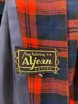 Aljean 60s 3 Piece Ensemble of Red and Blue Wool Plaid -Dress, Coat and Hat LABEL 7 of 8