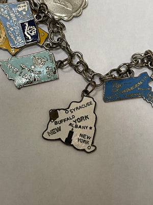 Mid Century Souvenir States  Silver Charm Bracelet  NY CHARM 4 of 4
