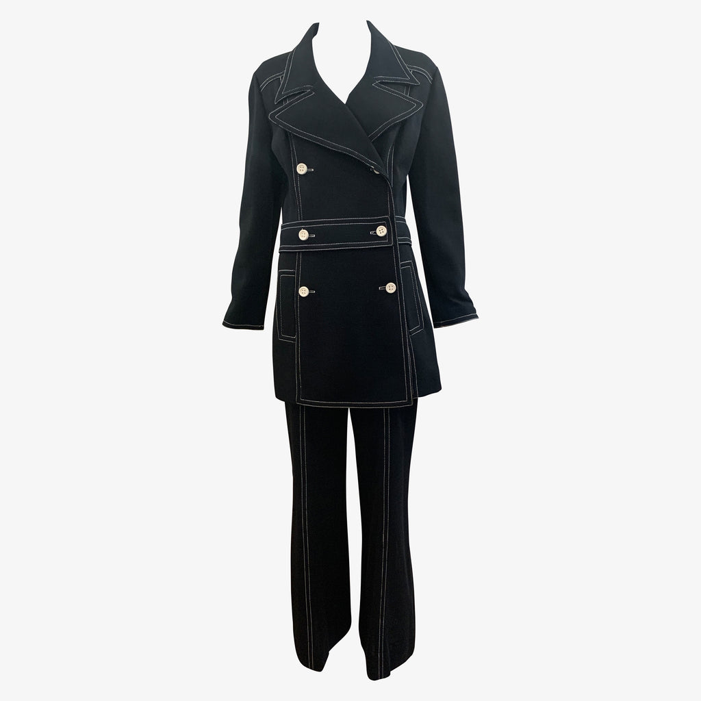 70s I. Magnin Mod  Black Double Breasted Pantsuit Front 1 of 8