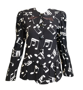 YSL 80s Blouse Black with Musical Notes Front 1 of 5