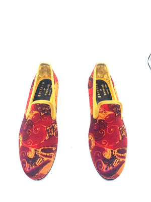 Shipton and Heneage  Bespoke Red and Gold Slippers size 6 4 of 5