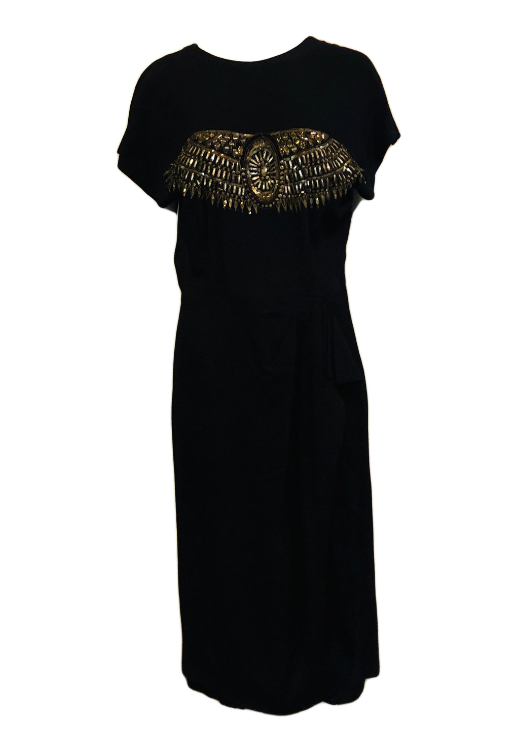 40s Dress Noir  Black Crepe Cocktail with Gold Tone Paillettes FRONT 1 of 4