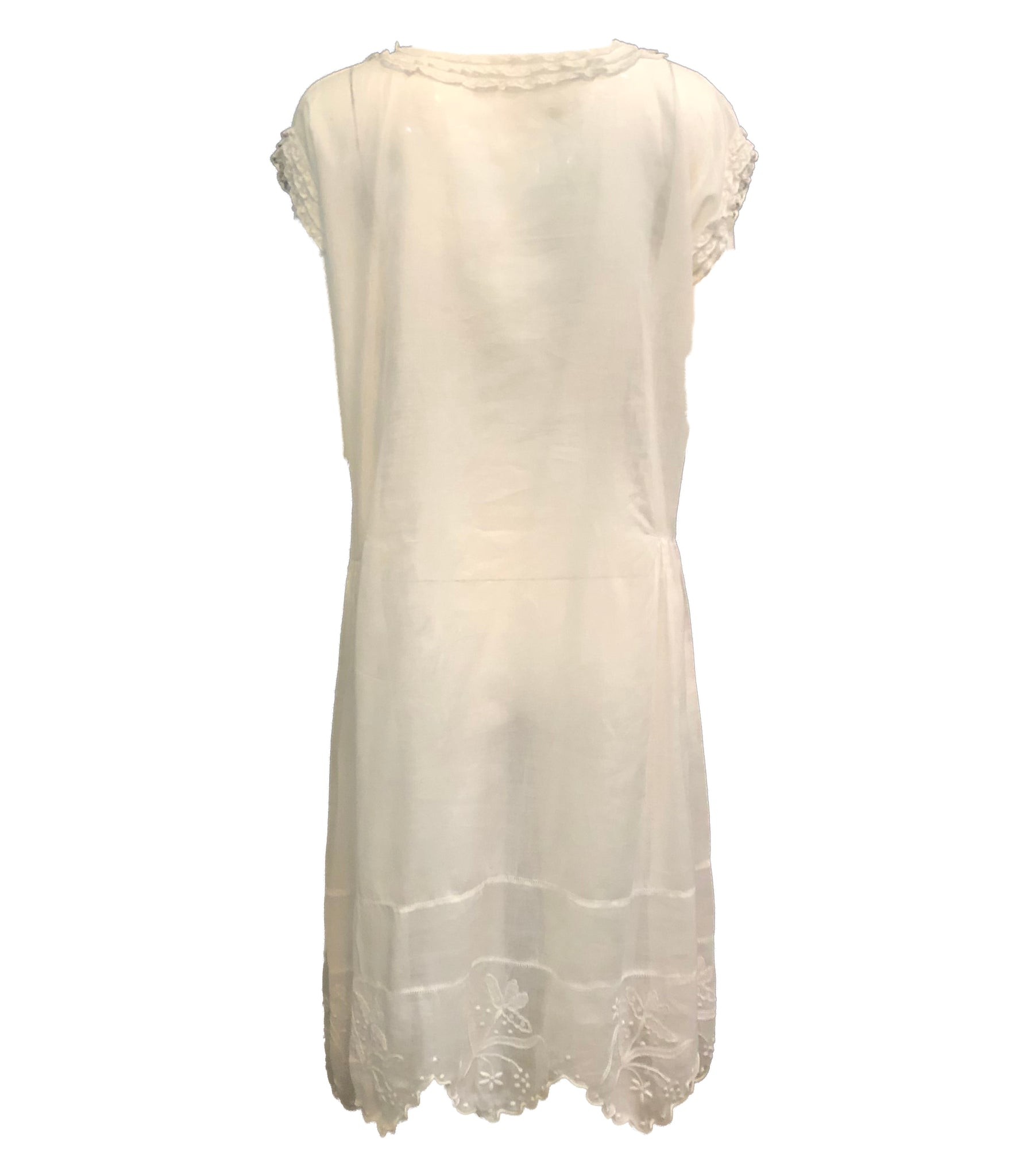 20s Dress White Cotton Voile with Delicate Embroidery and Lace trim BACK 2 of 4