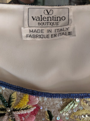 90s Valentino Intricately Beaded Chinoiserie  Shell Top, label