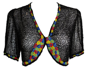 30s Black Net Deco Beaded Bolero FRONT 1 of 4