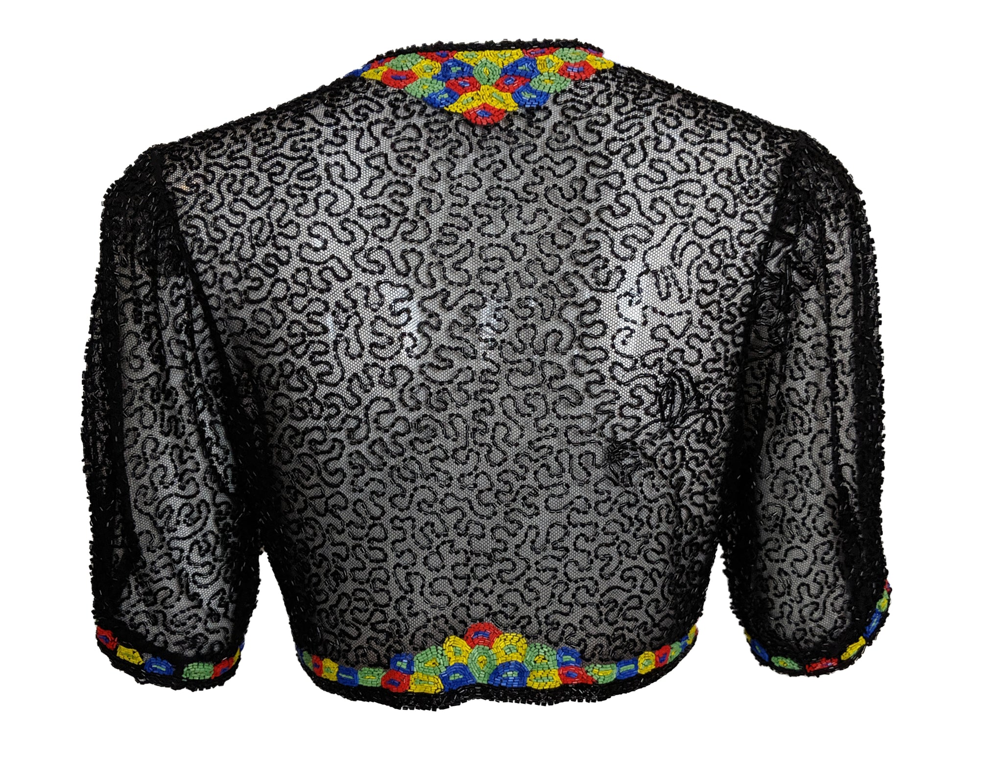 30s Black Net Deco Beaded Bolero BACK 2 of 4