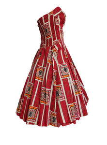 50s Japanese Print Polynesian Style Straplesss Dress 1 of 4