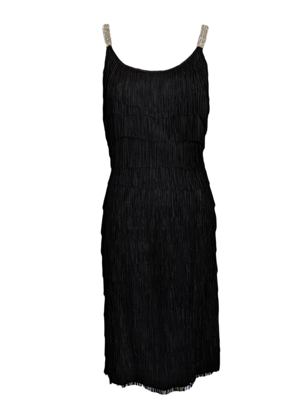 60s Black Fully Fringed Wiggle Dress