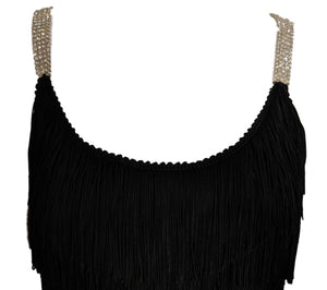 60s Black Fully Fringed Wiggle Dress, top