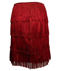 Norma Kamali 90s Red Fringed Mini Skirt FRONT 1 of 5