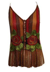 Galanos 70s Heavily Beaded Fringed Camisole FRONT 1 of 5