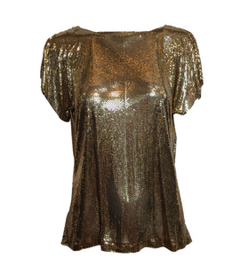 Whiting and Davis Goldtone Metal Mesh Top FRONT 1 of 3