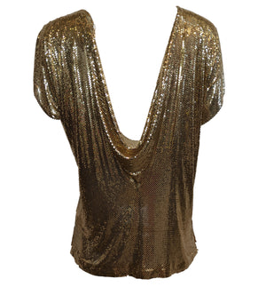 Whiting and Davis Goldtone Metal Mesh Top BACK 3 of 3