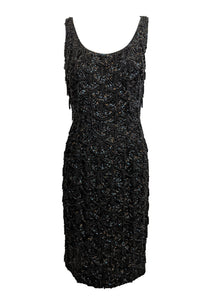 60s Black Beaded Cocktail Dress FRONT 1 of 4