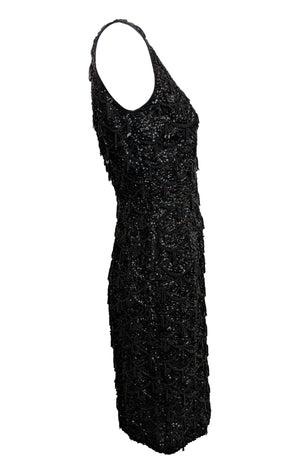 60s Black Beaded Cocktail Dress SIDE 2 of 4