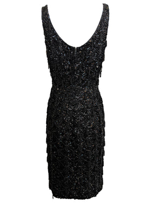 60s Black Beaded Cocktail Dress BACK 3 of 4