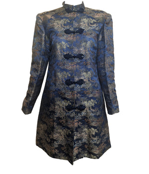 Chinese Mid Century Electric Blue Brocade Coat