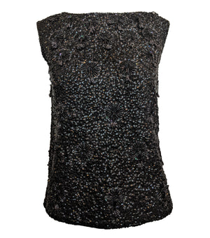 60s Black Beaded Cocktail Shell FRONT 1 of 4