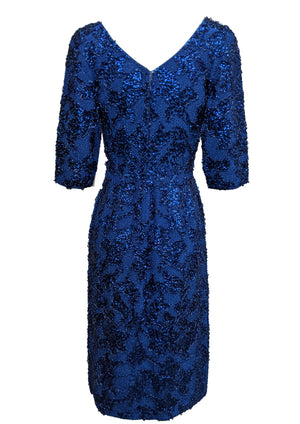 Gene Shelley 60s Egyptian Blue Beaded Wiggle Dress BACK 2 of 6