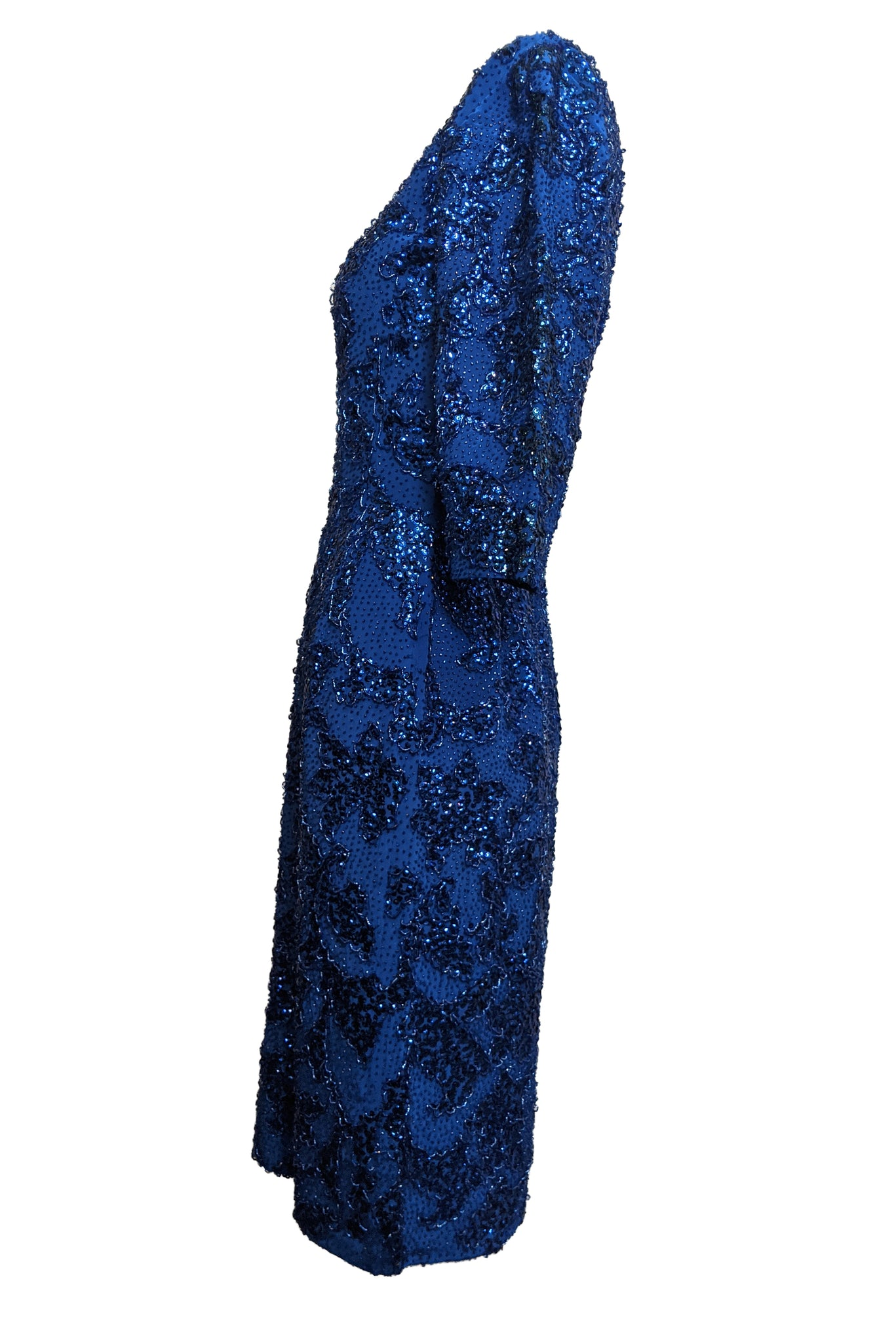 Gene Shelley 60s Egyptian Blue Beaded Wiggle Dress SIDE 3 of 6
