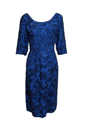 Gene Shelley 60s Egyptian Blue Beaded Wiggle Dress FRONT 1 of 6