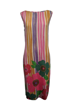 60s lightweight knit Dress with Whimsical Floral Print FRONT 1 of 4