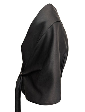 Jil Sander Contemporary Minimalist Black Satin Wrap SIDE 3 of 5