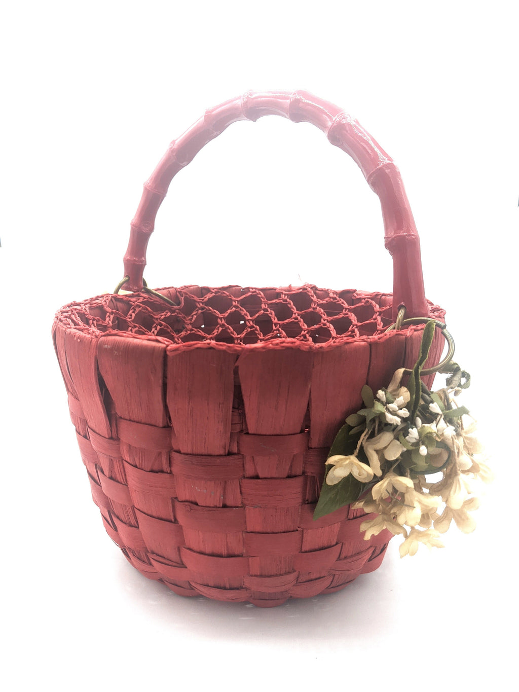 50s Purse Red Basket with Net Cover FRONT 1 of 4