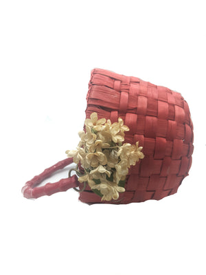 50s Purse Red Basket with Net Cover SIDE 2 of 4
