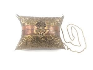 70s Repousse  Brass Pillow Purse FRONT 1 of 4