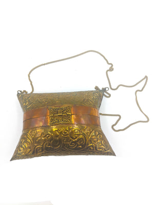 70s Repousse  Brass Pillow Purse BACK 2 of 4
