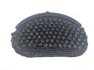 80s Purse Black Raffia Crochet Clutch FRONT 1 of 3