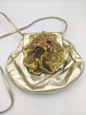Carvelhu's Gold Leather Purse with Brutalist Medallion FRONT 1 of 4