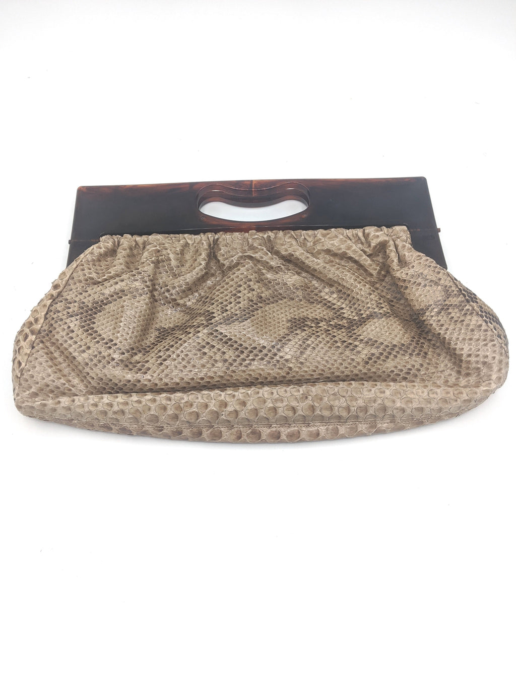 70s Purse Tan Snakeskin Clutch with Lucite Frame  FRONT 1 of 3