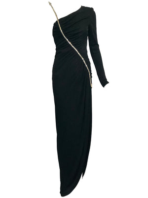 Valentino 70s Black Jersey Rhinestone Arrow Gown FRONT 1 of 8