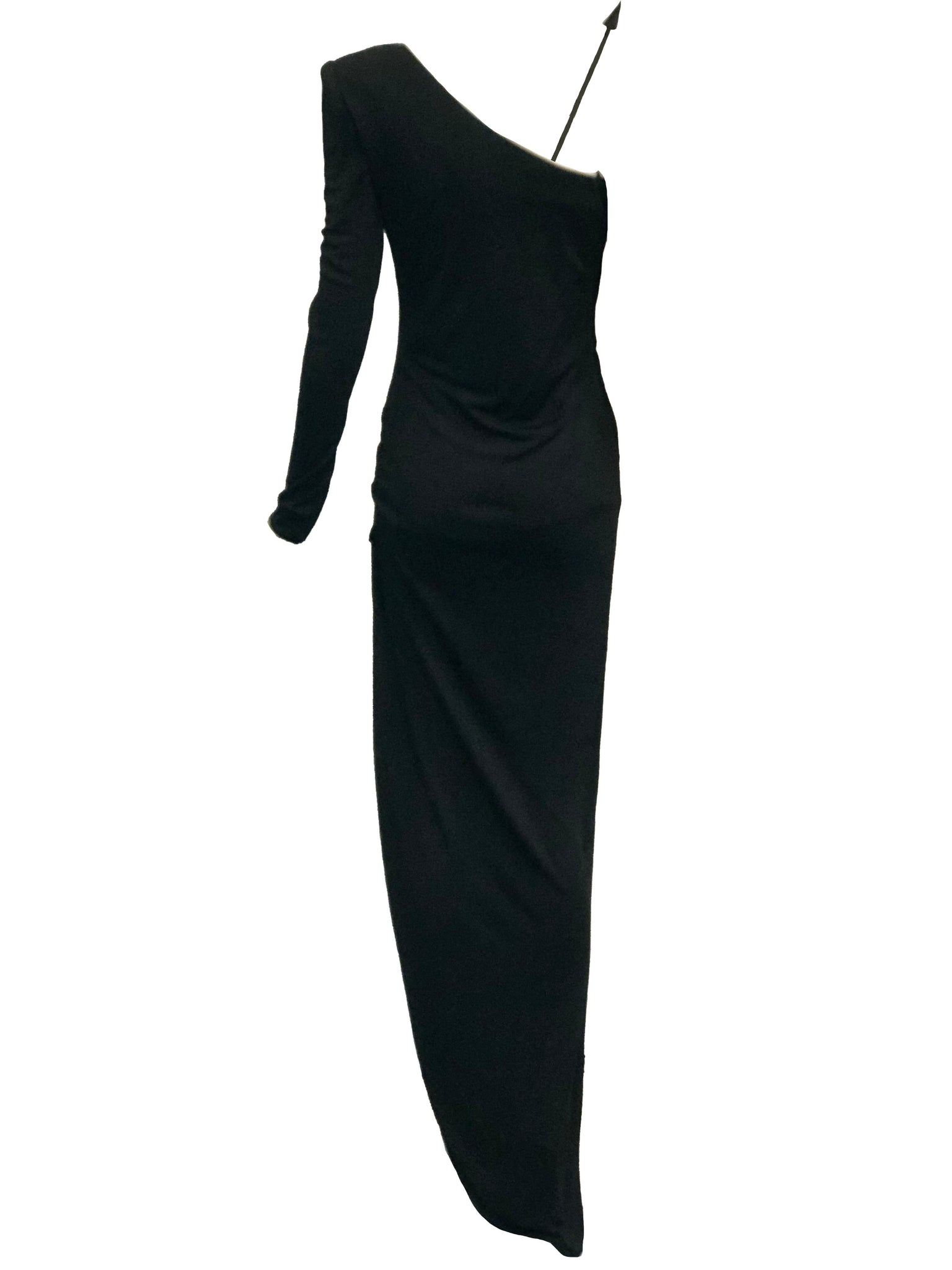 Valentino 70s Black Jersey Rhinestone Arrow Gown BACK 3 of 8