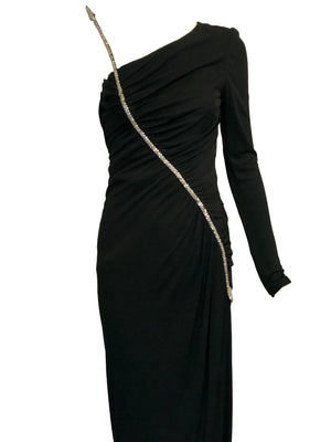 Valentino 70s Black Jersey Rhinestone Arrow Gown 6 of 8