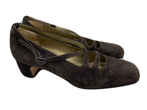 70s YSL Brown Suede Mary Jane Shoes 1 of 3
