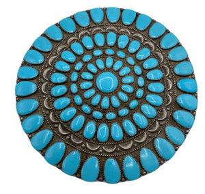 Giant Navajo Turquoise Brooch/Medallion Front 1 of 3