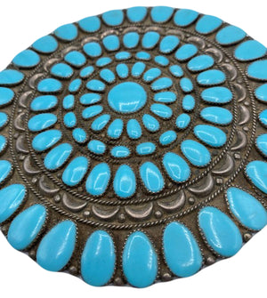 Giant Navajo Turquoise Brooch/Medallion Detail 2 of 3