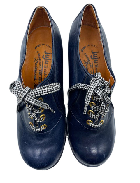 Juju Boutique 70s Blue Lace Up Platform Shoes