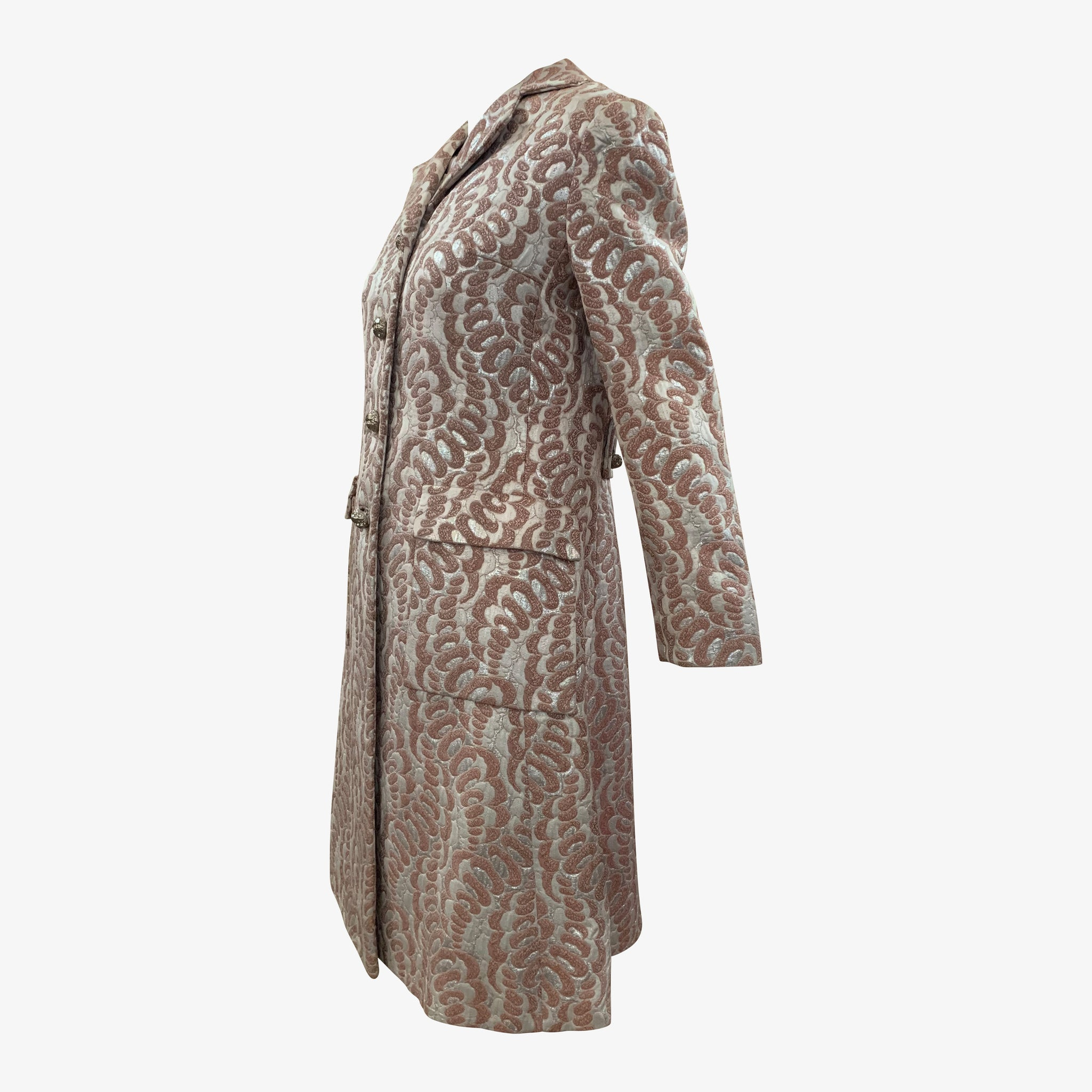 Thalhimers 60s Metallic Brocade Dress and Coat Ensemble ENSEMBLE SIDE 2 of 10