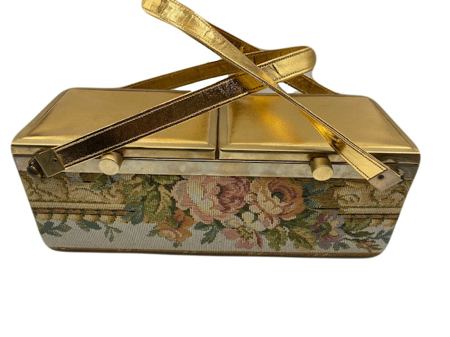 60s Tyrolean Golden Box Purse with Tapestry 1 of 6