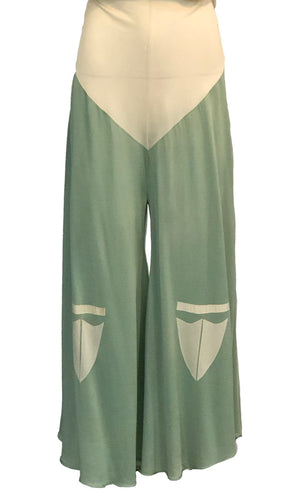 Ultra Rare 30s Rayon Jersey Ivory and Pistachio Beach Pajamas