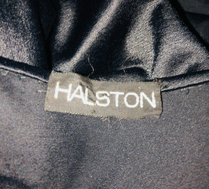 Halston 70s Cape Black Full Length Stretch Satin LABEL 3 of 3