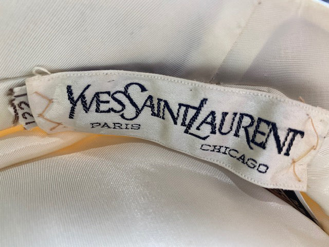 YSL 70s  Ivory Bulky Crochet Hat with Leather Trim Label 4 of 4