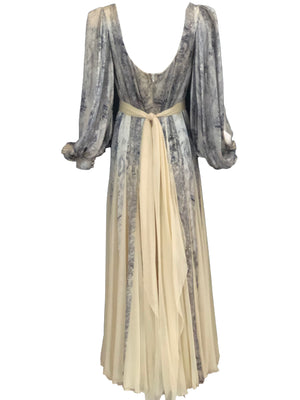 George Stavropoulos 70s Ivory and Dove Grey Chiffon Gown