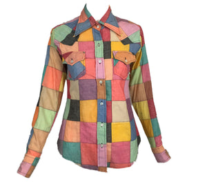 70s Patchwork Button Down Western Shirt Front 1 of 5